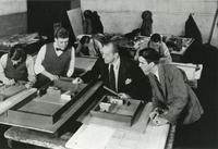 Ludwig Mies van der Rohe with students James Speyer (left) and George Danforth (right), fourth year studio critique, 1939.