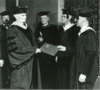 Lee de Forest receiving honorary doctorate from Lewis Institute, 1937