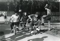 Spring Thing tricycle race, Illinois Institute of Technology, Chicago, Illinois, ca. 1968-1971