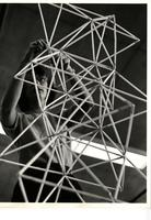 Design student building structural model, Chicago, Illinois, ca. 1940-1950s