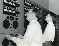 W.C. Jacobs and J.M. Brager of Consumer Powers Company with A-C Network Calculator, Illinois Institute of Technology, 1951