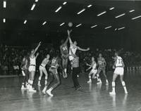 Basketball game in Keating Hall, Illinois Institute of Technology, Chicago, Illinois, ca. 1970s