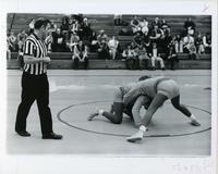 Wrestling match, Illinois Institute of Technology, Chicago, Illinois, ca. 1960s-1970s