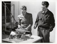 Students with model at the Institute of Design, Illinois Institute of Technology, Chicago, Illinois, ca. 1945