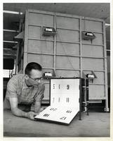 Ken Isaacs with the Knowledge Box, Illinois Institute of Technology, Chicago, Illinois, 1962