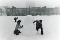 Students building a snowman, Illinois Institute of Technology, Chicago, Illinois, 1980s
