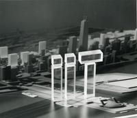 IIT logo with model of Chicago, Illinois, 1980s