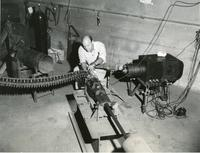 Grant Wantling and the M39 cannon, Illinois Institute of Technology, Chicago, Illinois, ca. 1950s