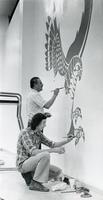 Benjamin de Brie Taylor painting the Hawk mural in Ecko Pool, Illinois Institute of Technology, Chicago, Illinois, ca. 1980