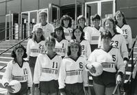 Women's volleyball team in front of Keating Hall, Illinois Institute of Technology, Chicago, Illinois, ca. 1983