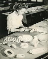 Student Barbara Jeanmaire in an Institute of Design paper cutting class, Chicago, Illinois, ca. 1945-1949