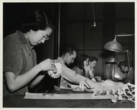 Students in a Chicago School or Design or Institute of Design paper cutting class, Chicago, Illinois, ca. 1942-1945