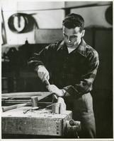 Institute of Design student Stanley Peters working in the wood workshop, Chicago, Illinois, ca. 1945-1949