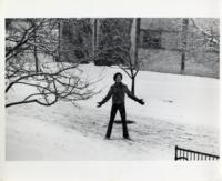 Student holding a snowball, Illinois Institute of Technology, Chicago, Illinois, ca. 1980s