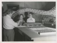 Konrad Wachsmann with Institute of Design students Maurene Strug and Shirley Courtois, Illinois Institute of Technology, Chicago, Illinois, ca. 1954-1959