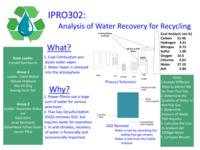 Analysis of Water Recovery from Power Plants for Recycling (Semester Unknown) IPRO 302: Analysis of Water Recovery from Power Plants for Recycling IPRO 302 Poster F08
