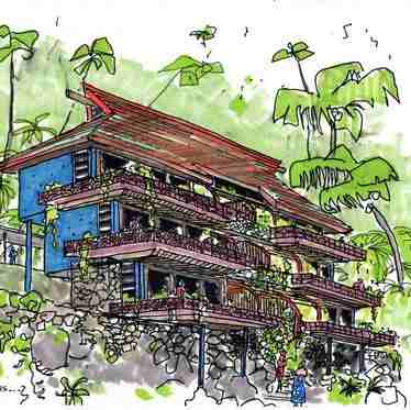 Des Terrasses, unbuilt Sheraton Hotel complex on the island of Moorea, Robert Philip Gordon, 1990